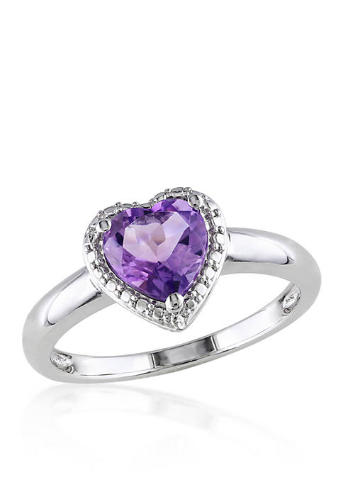 Belk & Co. Amethyst Heart Ring in Sterling
