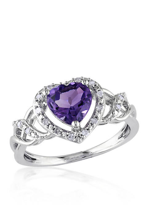 Belk & Co. Amethyst and Diamond Heart Ring