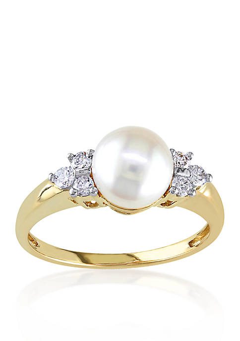 Belk & Co. 14k Yellow Gold Akoya Pearl