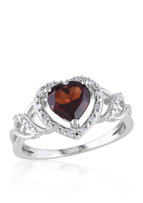 Belk & Co. Garnet and Diamond Heart Ring