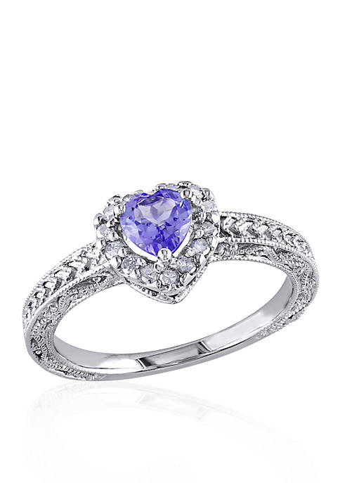Sterling Silver Tanzanite and Diamond Heart Ring
