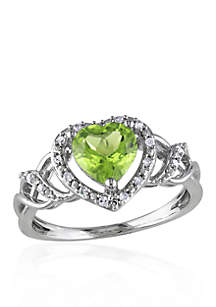 Sterling Silver Peridot and Diamond Heart Ring