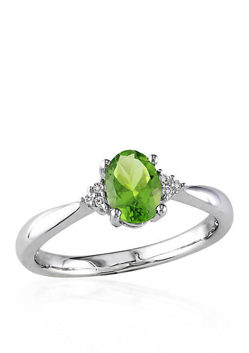 Sterling Silver Peridot and Diamond Ring