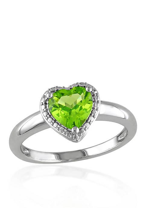 Sterling Silver Peridot Heart Ring