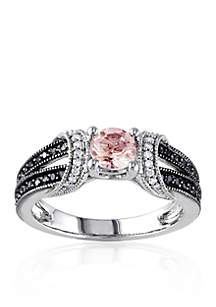Sterling Silver Morganite and Black and White Diamond Ring