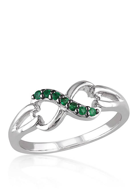 Belk & Co. Emerald Infinity Ring in Sterling