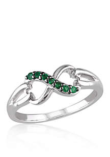 Emerald Infinity Ring in Sterling Silver