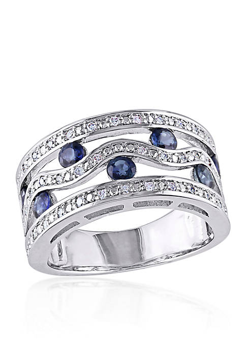 Sapphire and Diamond Band in Sterling Silver