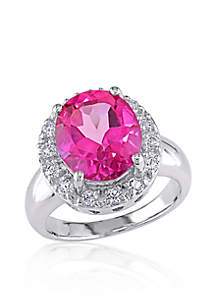 Sterling Silver Pink and White Topaz Ring