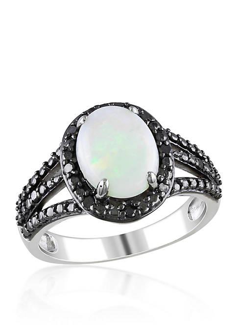 Belk & Co. Sterling Silver Opal and Black