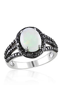Sterling Silver Opal and Black Diamond Ring