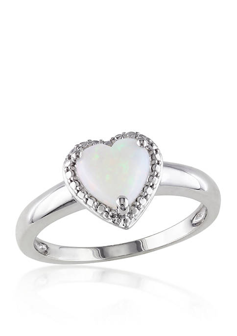 Belk & Co. Sterling Silver Heart Opal Ring
