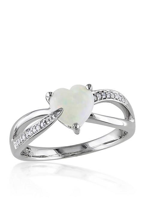 Belk & Co. Sterling Silver Opal and Diamond