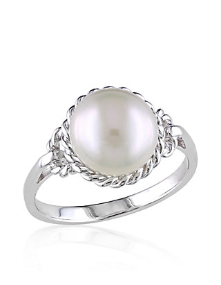 Sterling Silver White Cultured Freshwater Pearl Ring