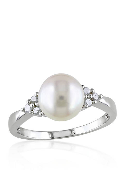 Sterling Silver White Cultured Freshwater Pearl and Diamond Ring