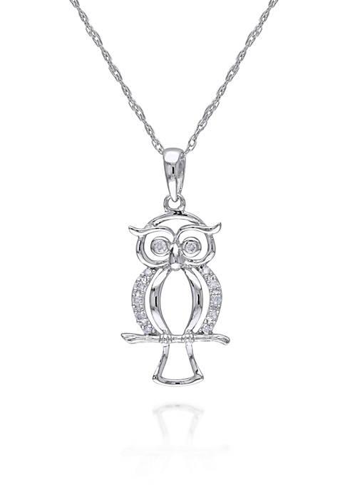 Diamond Owl Pendant in 10K White Gold