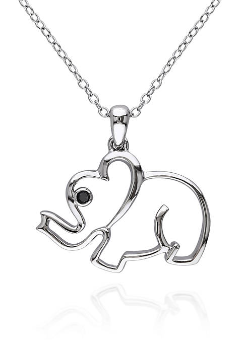 Belk & Co. Black Diamond Accent Elephant Pendant
