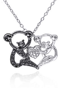 Black Diamond and White Diamond Accent Bear Pendant in Sterling Silver