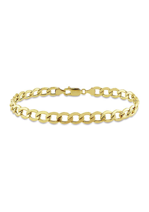 Mens Curb Link Chain Bracelet in 10k Yellow Gold (7 mm/9 in)