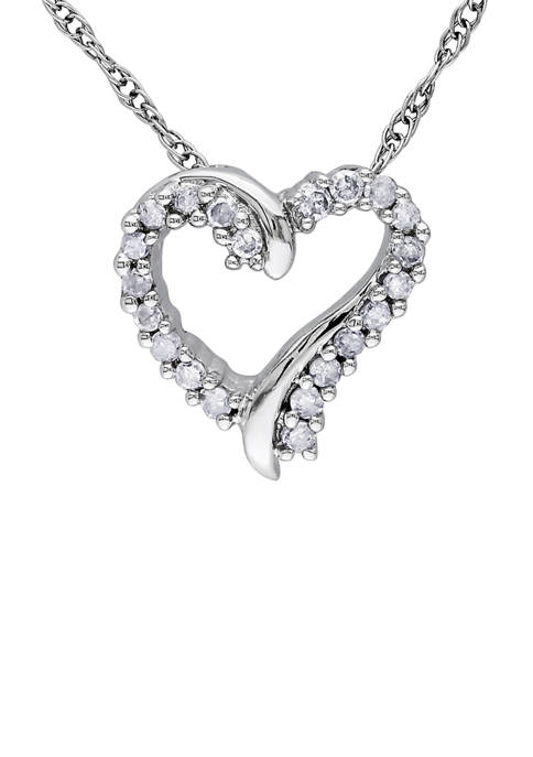 1/10 ct. t.w. Diamond Heart Pendant with Chain in 10k White Gold