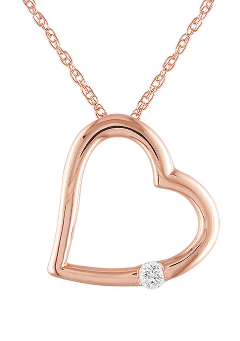 1/10  ct. t.w. Solitaire Diamond Accent Heart Pendant with Chain in 10K Rose Gold