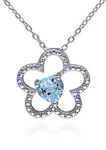 Blue Topaz Flower Pendant in Sterling Silver