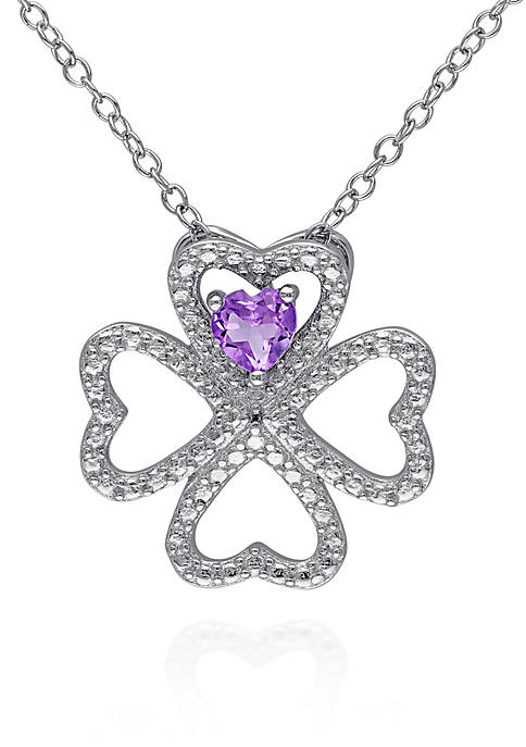 Belk & Co. Amethyst Clover Pendant in Sterling
