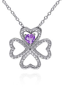Amethyst Clover Pendant in Sterling Silver