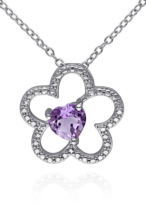 Belk & Co. Amethyst Flower Pendant in Sterling