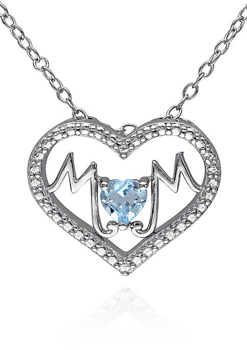 Belk & Co. Blue Topaz Mom Heart Pendant