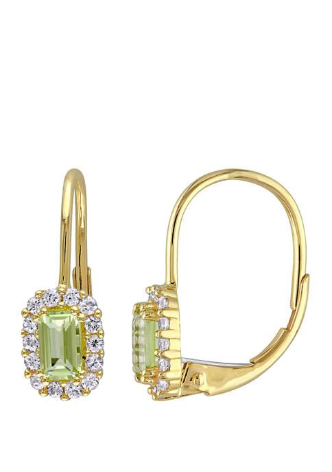 Peridot and White Sapphire Halo Earrings