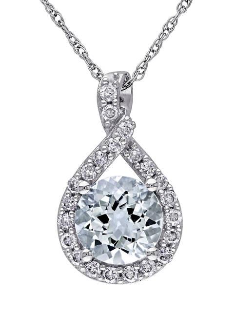1 1/7 ct. t.w. Aquamarine and 1/5 ct. t.w. Diamond Teardrop Pendant with Chain