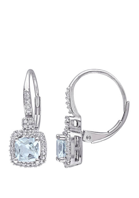 Cushion Cut 1.06 ct. t.w. Aquamarine and 1/5 ct. t.w Diamond Halo Lever Back Earrings in 10K White Gold