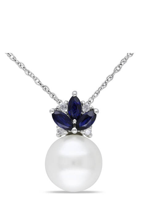 8.5-9 Millimeter Cultured Freshwater Pearl, Sapphire and Diamond Floral Pendant with Chain in 10k White Gold