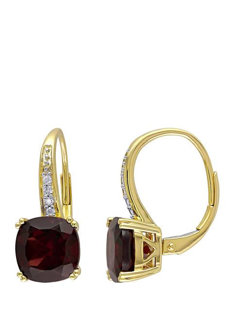 Garnet and Diamond Accent Drop Earrings