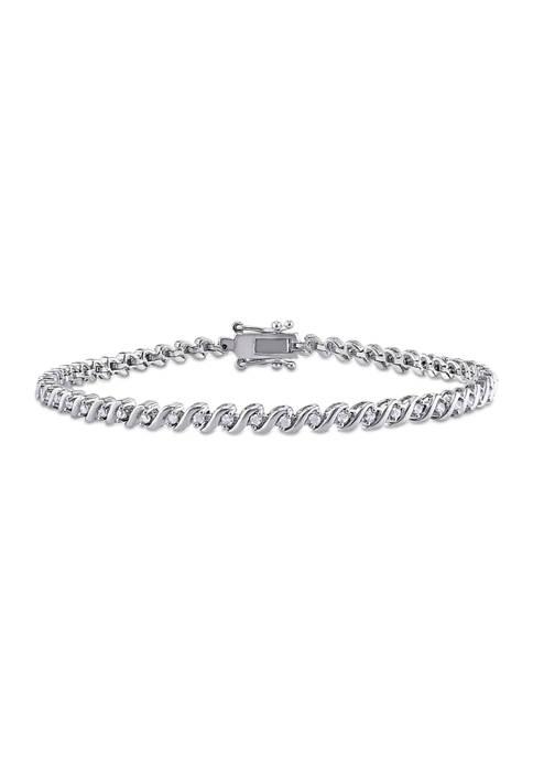1/2 ct. t.w. Diamond S-Shape Tennis Bracelet In Sterling Silver