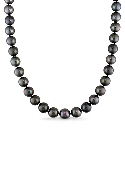 9-11 MM Tahitian Cultured Pearl Graduated Strand Necklace with 14K White Gold Ball Clasp