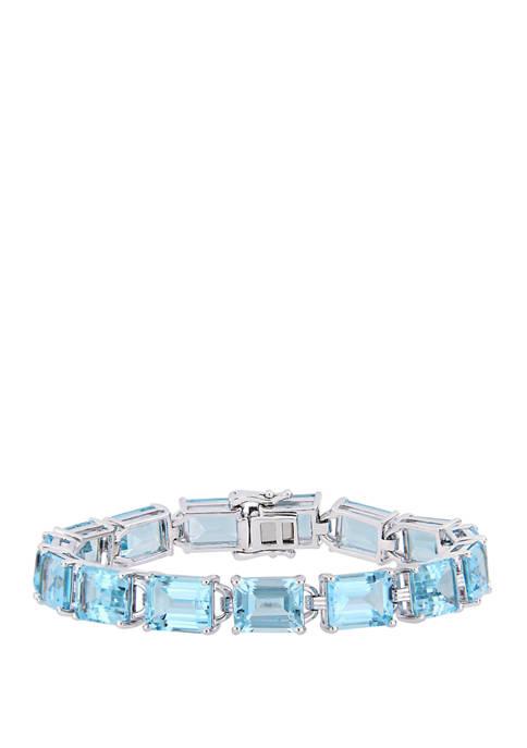 59.75 ct. t.w. Emerald-Cut Blue Topaz Tennis Bracelet in Sterling Silver