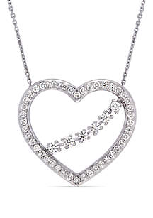 1 ct. t.w. Diamond Heart Necklace in 14k White Gold