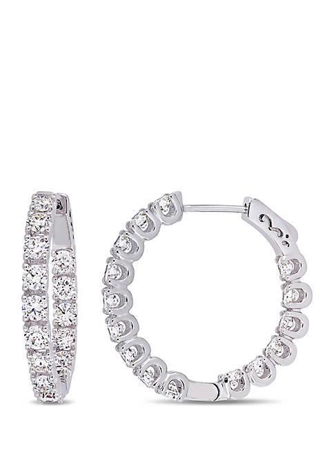 3 ct. t.w. Diamond Hoop Earrings in 14k White Gold