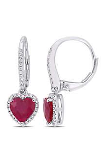 Belk & Co. 2.10 ct. t.w. Ruby and 1/4 ct. t.w. Diamond Halo Heart Earrings in 14k White Gold