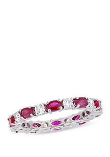 2 ct. t.w. Oval Ruby and 0.75 ct. t.w. Diamond Eternity Ring in 14K White Gold