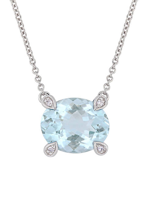 2.1 ct. t.w. Aquamarine and 1/10 ct. t.w. Diamond Accent Station Necklace in 10K White Gold
