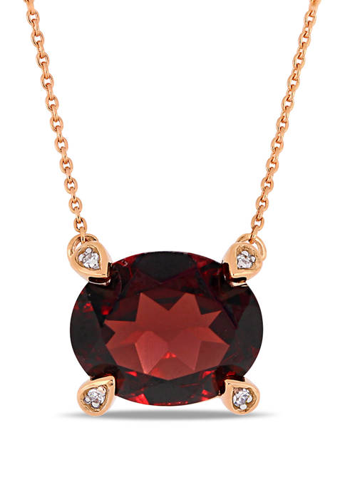 2.88 ct. t.w. Garnet and 1/10 ct. t.w. Diamond Accent Oval Station Necklace in 10k Rose Gold