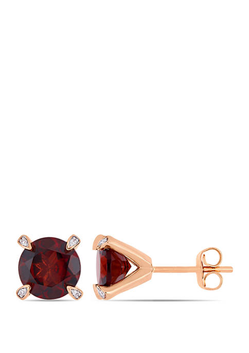 4 ct. t.w. Garnet and 1/10 ct. t.w. Diamond Accent Martini Stud Earrings in 10K Rose Gold