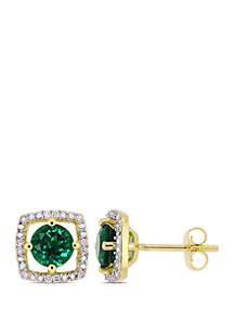 1 ct. t.w. Created Emerald and 0.07 ct. t.w. Diamond Floating Halo Square Stud Earrings in 10K Yellow Gold