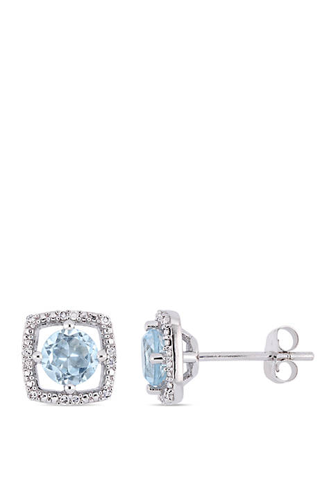 1 ct. t.w. Sky-Blue Topaz and 0.07 ct. t.w. Diamond Floating Halo Square Stud Earrings in 10K White Gold