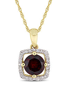 1 ct. t.w. Garnet and 0.1 ct. t.w. Diamond Floating Halo Pendant with Chain in 10K Yellow Gold