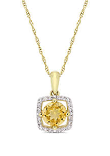 0.75 ct. t.w. Citrine and 0.1 ct. t.w. Diamond Floating Halo Pendant with Chain in 10K Yellow Gold