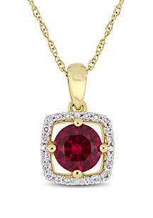 1 ct. t.w. Created Ruby and 0.1 ct. t.w. Diamond Floating Halo Pendant with Chain in 10K Yellow Gold